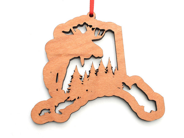 Smiling Moose Alaska Ornament with Moose Insert - Nestled Pines