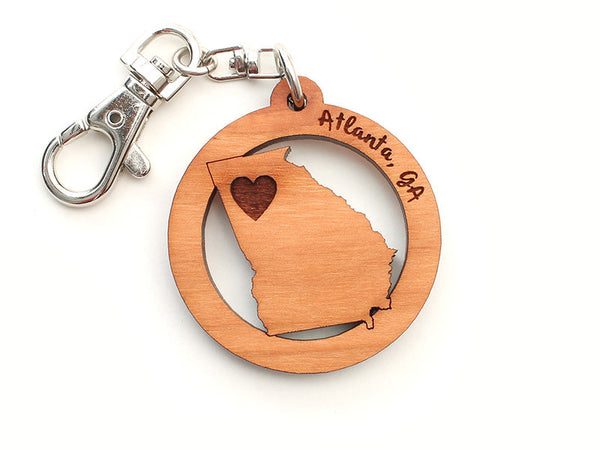Atlanta Georgia State Heart Key Chain - Nestled Pines