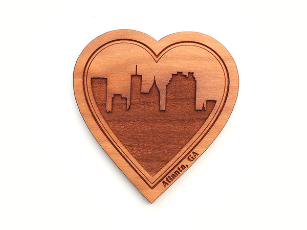 Atlanta City Skyline Heart Magnet - Nestled Pines