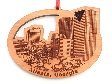 Atlanta Detailed City Skyline Oval Ornament with Ferris Wheel - Nestled Pines