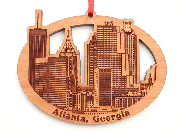 Atlanta Ornament - Detailed City Skyline Oval - Nestled Pines