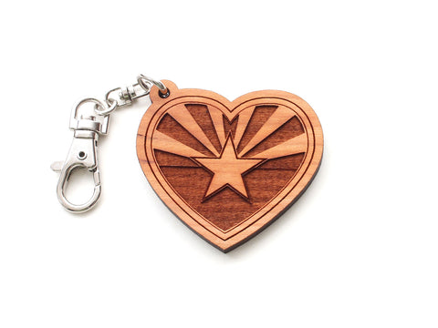 Arizona State Flag Heart Key Chain