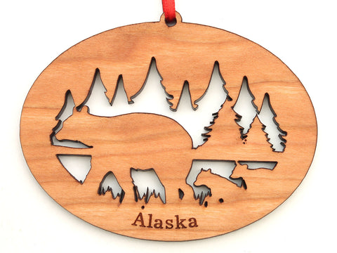 Alaska Black Bear with Cubs Northwoods Ornament