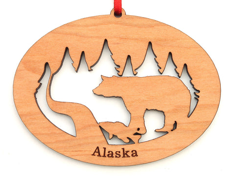 Alaska Black Bear with Fish Northwoods Ornament