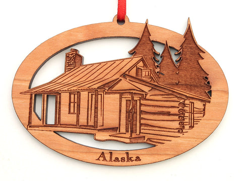 Alaska Cabin Oval Ornament