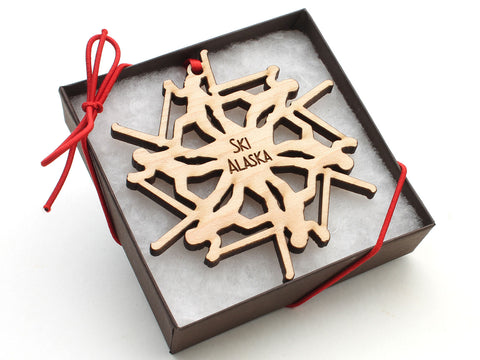 Alaska Cross Country Skier Snowflake Ornament Gift Box
