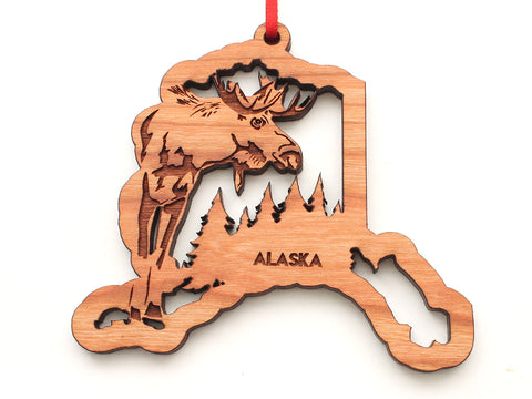 Alaska State Shape with Moose Insert Ornament