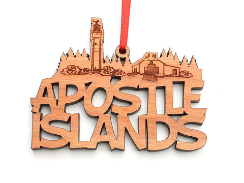 Apostle Island NLS Text Ornament - Nestled Pines