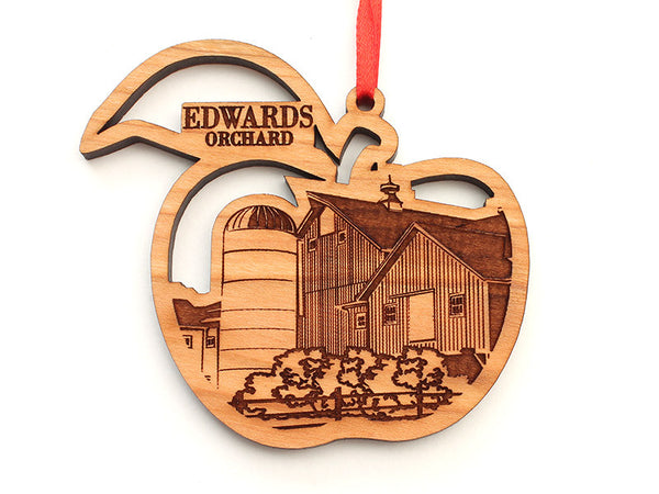 Edwards Orchard Apple Shape Custom Ornament with Farm Insert - Nestled Pines