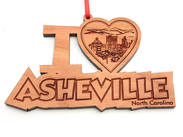 Asheville I Heart City Skyline North Carolina Text Ornament