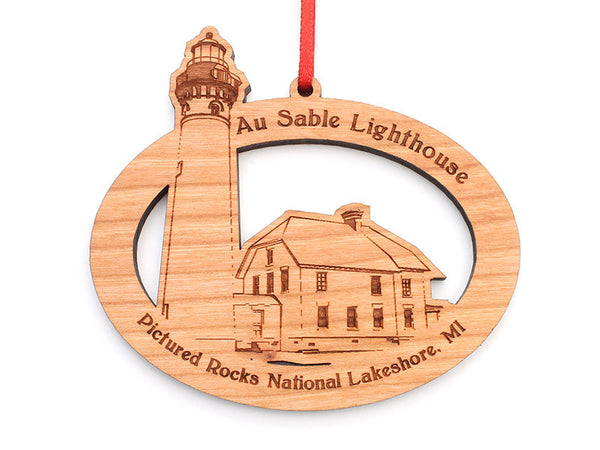Pictured Rocks Au Sable Lighthouse Oval Custom Ornament - Nestled Pines