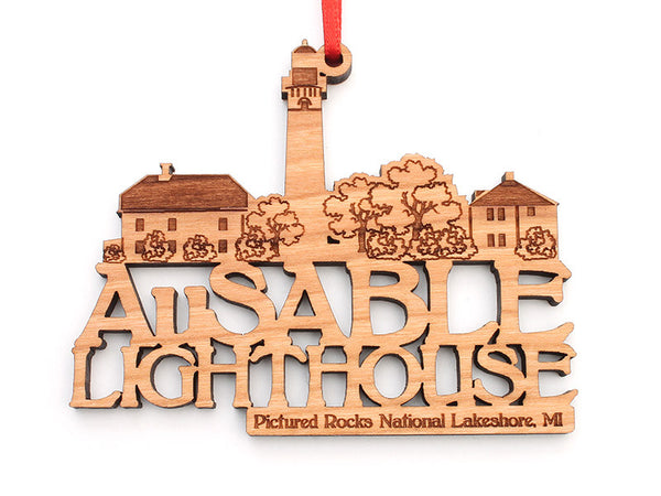 Pictured Rocks Au Sable Lighthouse Custom Text Ornament - Nestled Pines