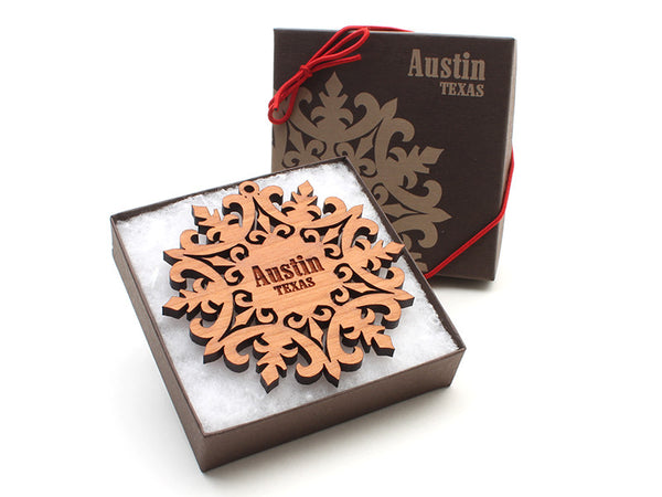 Amore Fiore Austin Texas Snowflake Custom Ornament - Nestled Pines