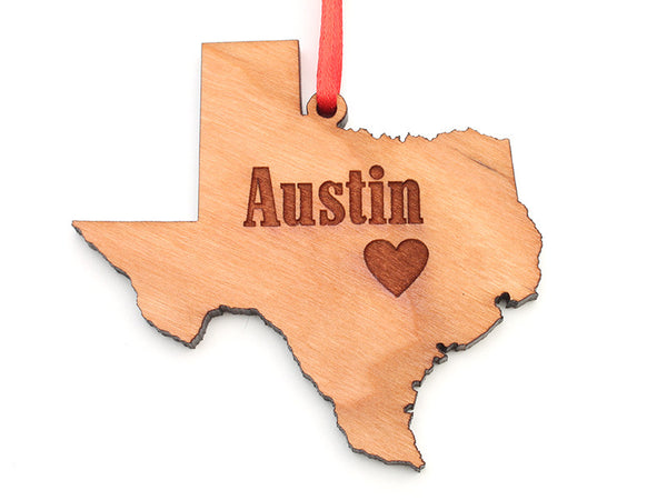 Amore Fiore Austin Texas State Cut Out Custom Ornament - Nestled Pines