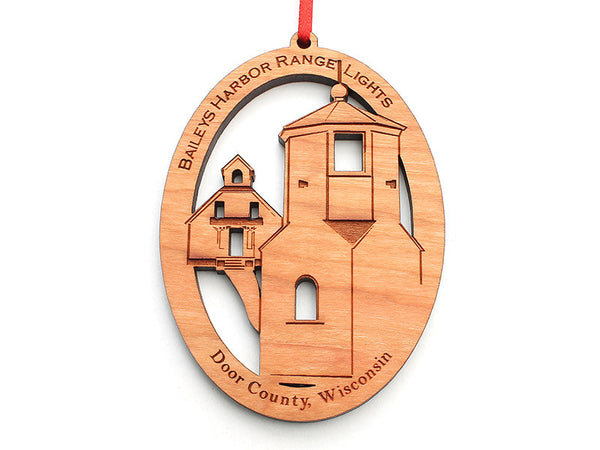 Baileys Harbor Range Lights Ornament - Nestled Pines