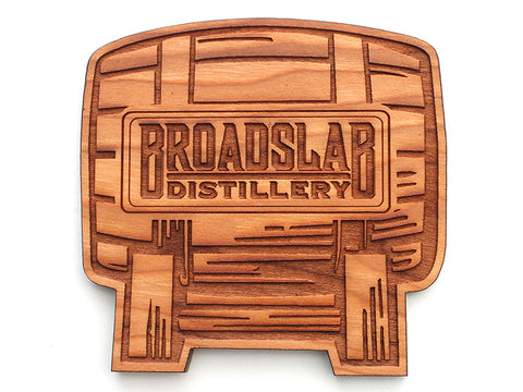 Broadslab Distillery Barrel Logo Custom Wood Coaster (Set of 4)