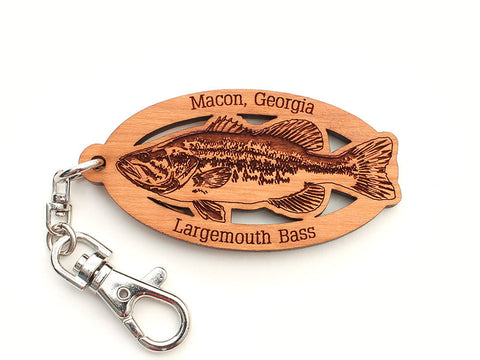 Macon Georgia Largemouth Bass Custom Key Chain - Nestled Pines