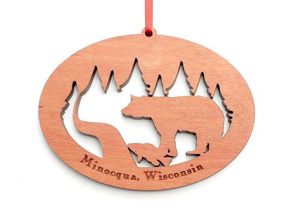 Northwoods Bear with Fish Ornament - Nestled Pines