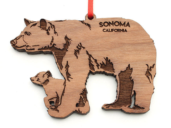 Solano Mission Bear with Cub Ornament