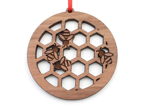 Honey Bee Honeycomb Circle Ornament - Nestled Pines