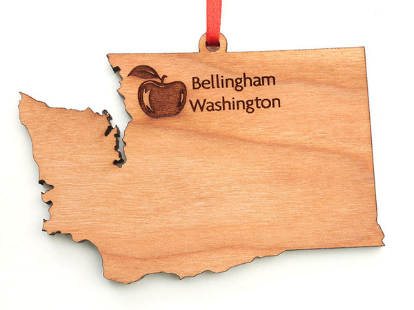 Village Books Bellingham Washington State Apple Custom Engraved Ornament - Nestled Pines