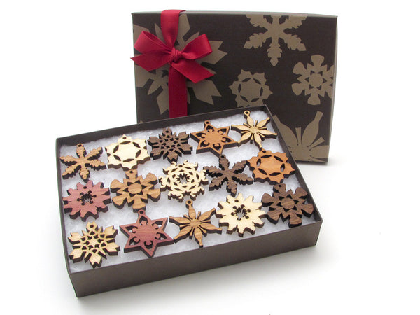 Mini Wood Snowflake Ornament Gift Box - Set of 15 - Nestled Pines - 2