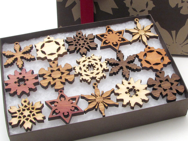 Mini Wood Snowflake Ornament Gift Box - Set of 15 - Nestled Pines - 3