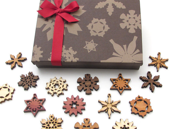 Mini Wood Snowflake Ornament Gift Box - Set of 15 - Nestled Pines - 5