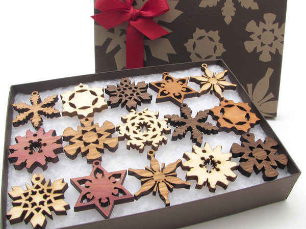 Mini Wood Snowflake Ornament Gift Box - Set of 15 - Nestled Pines - 1