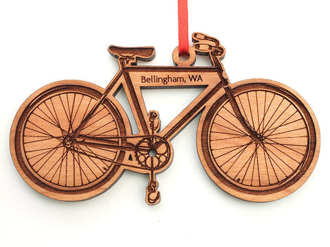 Village Books Bicycle Custom Engraved Ornament - Nestled Pines
