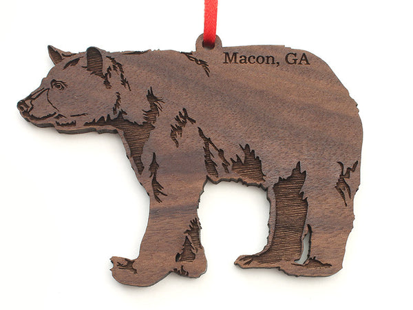 Macon Georgia Black Bear Custom Ornament - Nestled Pines