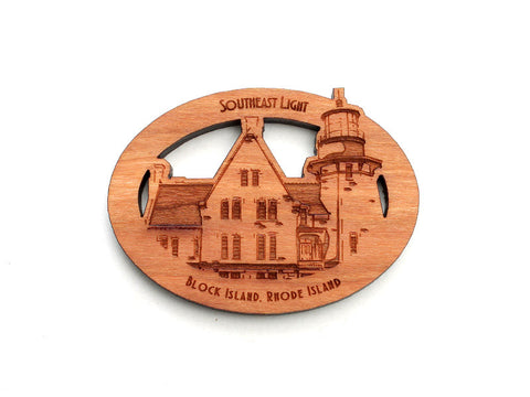 Block Island South East Light Oval Magnet - Nestled Pines