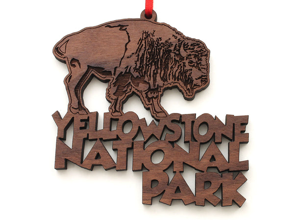 Buffalo Yellowstone National Park Text Ornament