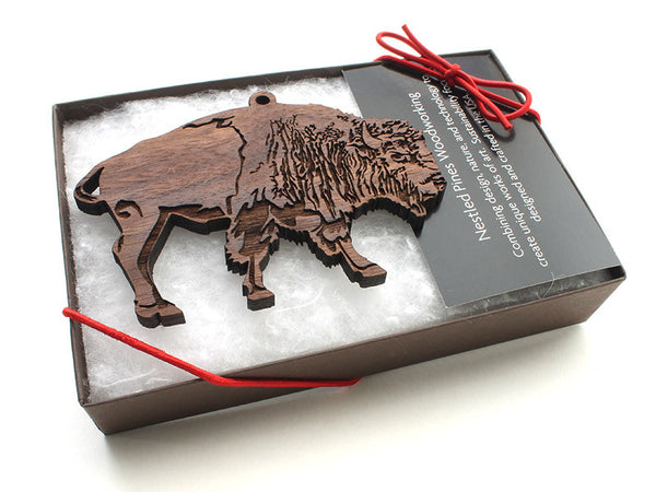 Jenss Black Walnut Buffalo Ornament Gift Box - Nestled Pines