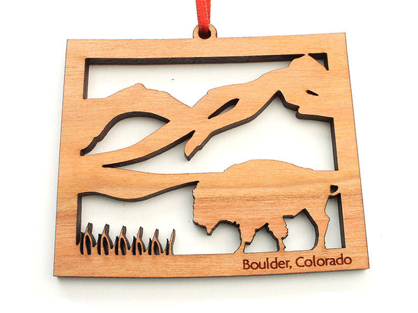 Fruehauf's Colorado State Shape Buffalo Insert Ornament - Nestled Pines
