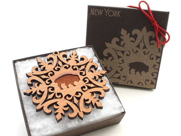 Jenss Custom Engraved Buffalo Detailed Snowflake Ornament - Nestled Pines