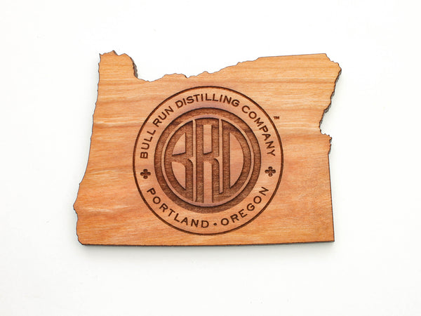 Bull Run Distillery Oregon State Shape Logo Coaster Set of 4