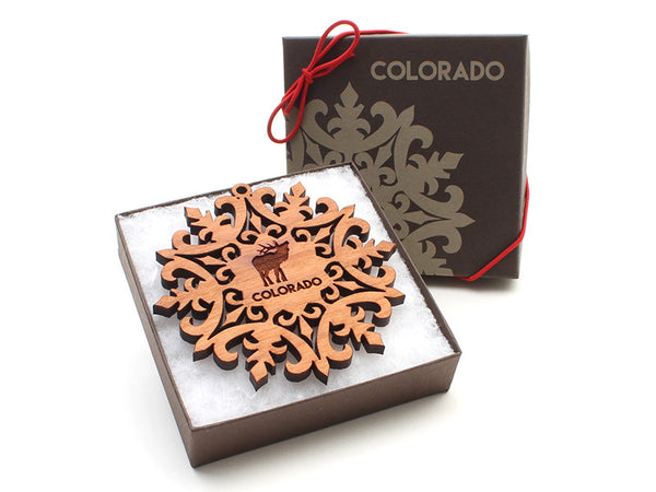 Amore Fiore Elk Snowflake Ornament - Nestled Pines