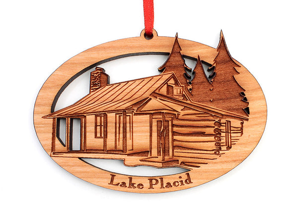 Lake Placid Cabin Oval Ornament - Nestled Pines