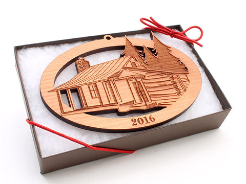 HOM Cabin Custom Ornament - Nestled Pines