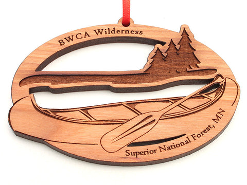 Superior National Forest Canoe Oval Ornament