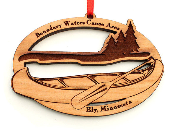 Mealey's Custom Canoe Ornament - Nestled Pines
