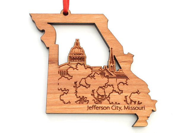 Jefferson City Missouri State Cut Out Ornament - Nestled Pines