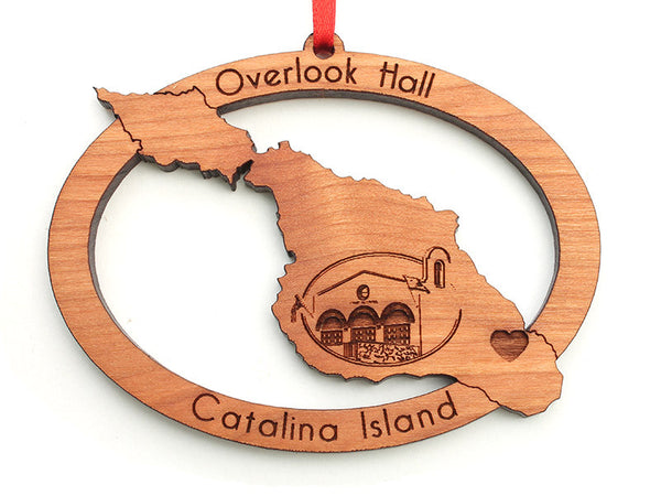 Overlook Hall Catalina Island Custom Oval Ornament - Nestled Pines
