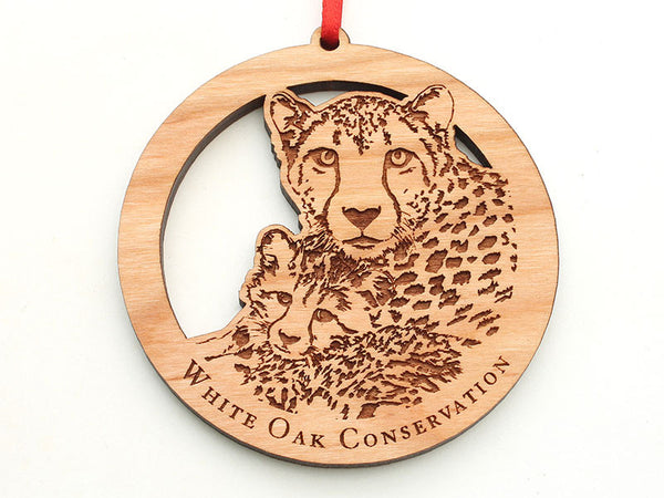 White Oak Conservation Cheetah with Cub Ornament