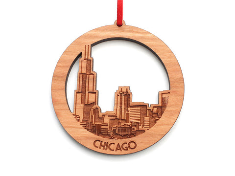 Chicago Skyline Circle Ornament - Nestled Pines