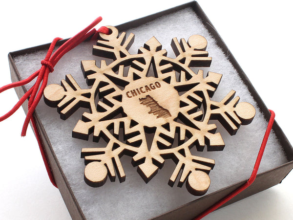 Chicago City Outline Snowflake Ornament Gift Box