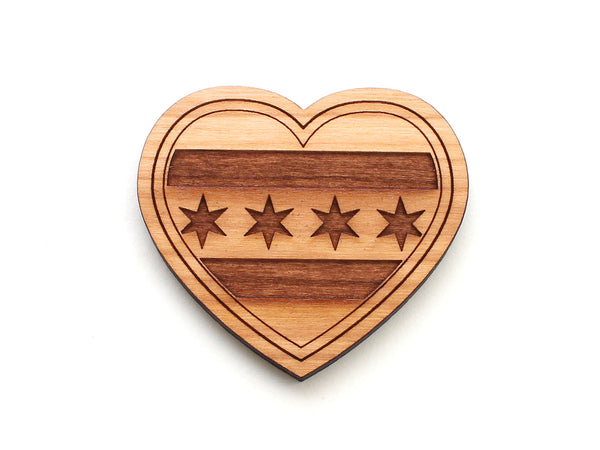 Chicago Flag City Flag Heart Magnet