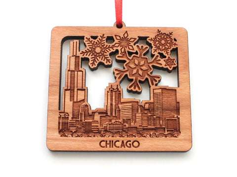Chicago Snowy City Skyline Ornament