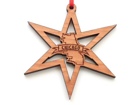 Chicago Star City Outline Snowflake Ornament